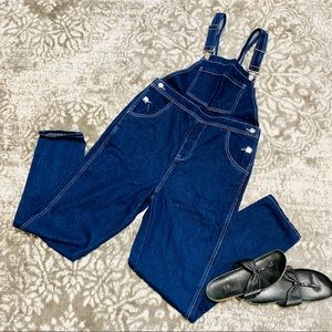 WE WORE WHAT Denim Dark Wash Basic Overalls NWT